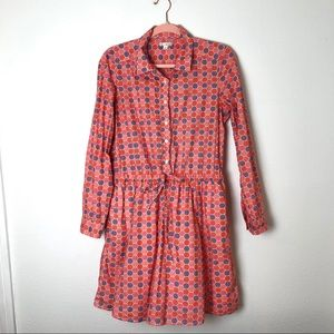 Gap shirt dress geometric print red pink purple
